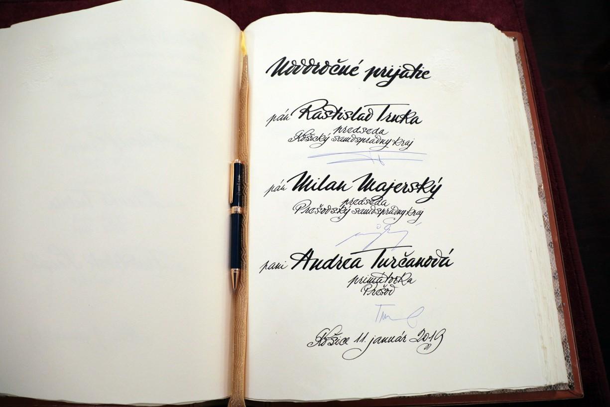 Zápis do Pamätnej knihy mesta Košice