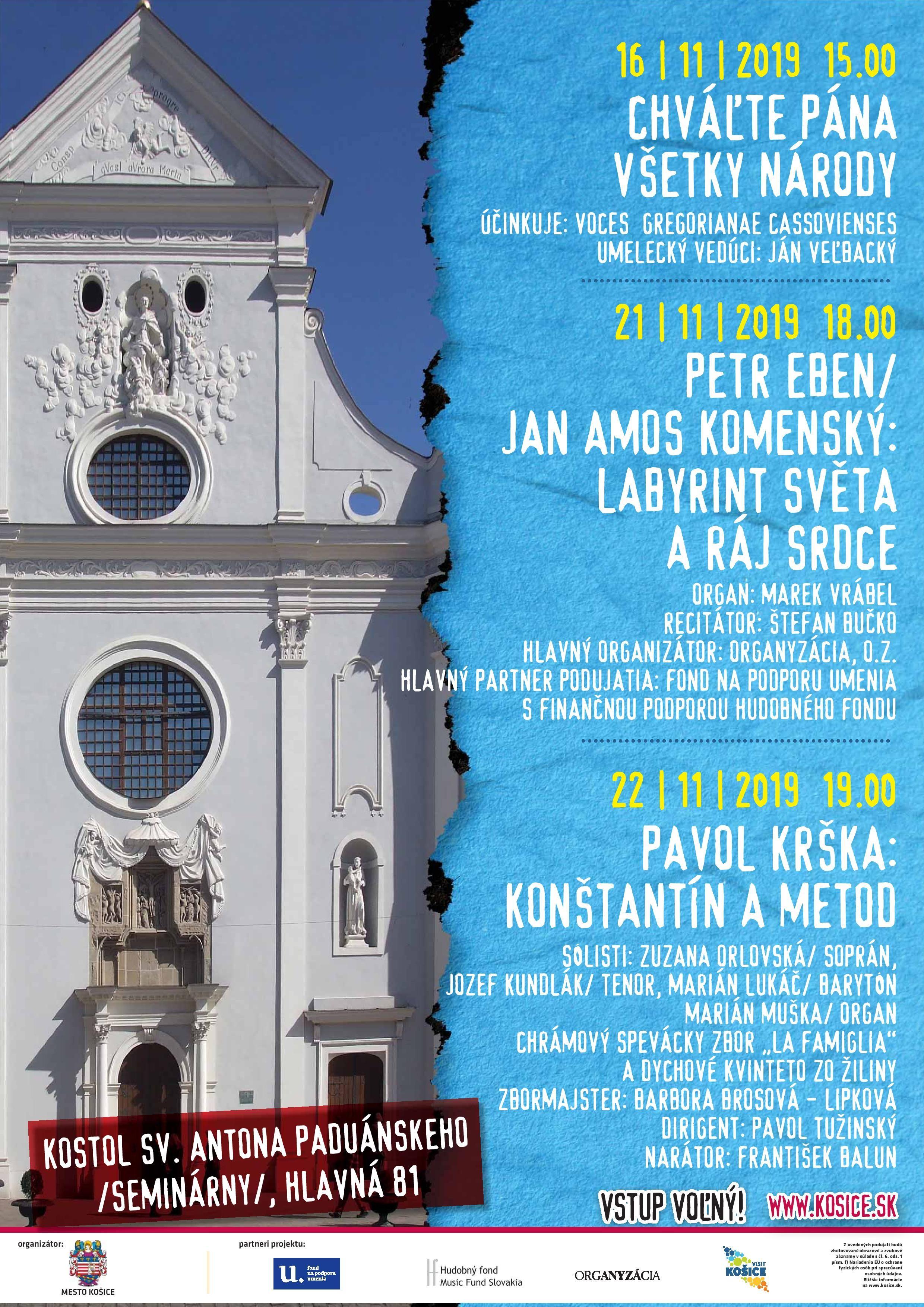 16.11.-22.11.2019 Podujatia v Seminárnom kostole Sv. Antona Paduánskeho