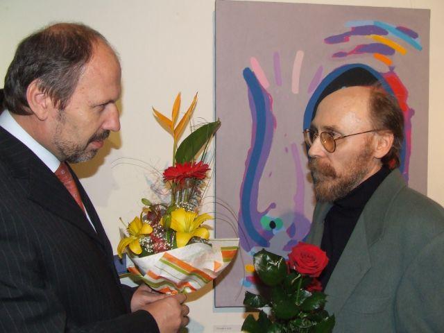 Umelcovi prišiel zagratulovať aj primátor mesta František Knapík