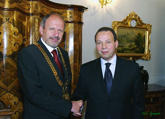 veľvyslanec Egyptskej republiky J.E. Hassan H. El-Laithy s primátorom Košíc Františkom Knapíkom