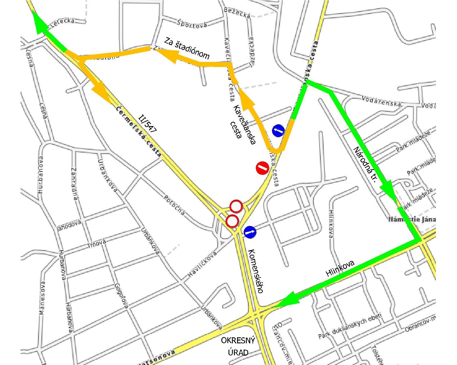 Mapa obchádzky príjazd z Kostolianskej