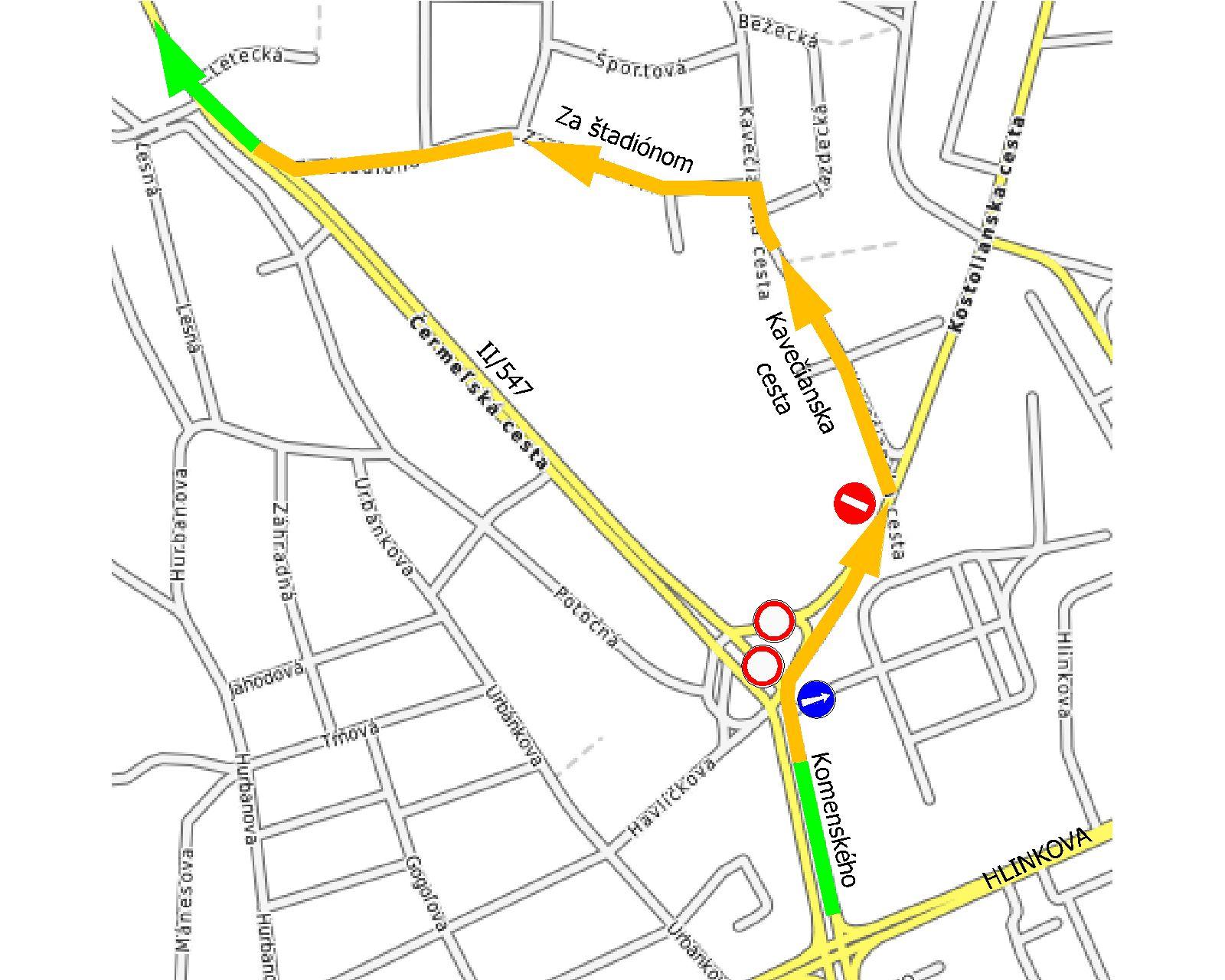 Mapa obchádzky príjazd z Komenského