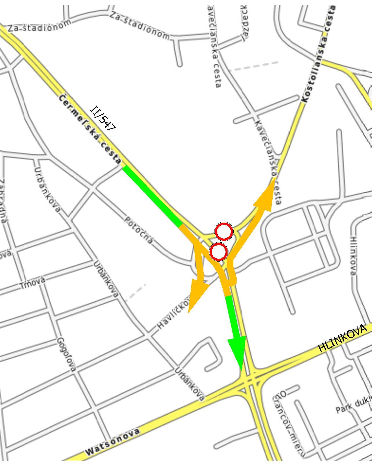 Mapa obchádzky príjazd z Čermeľa
