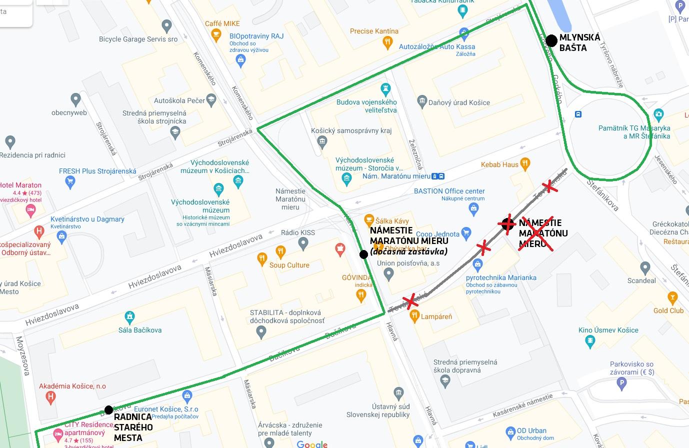 Obchádzkové trasy linky č. 22 a 36