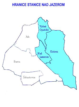 Mapa - hranice stanice Nad jazerom