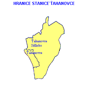 Mapa - hranice stanice Ťahanovce