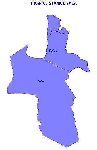 Mapa - hranice stanice Šaca