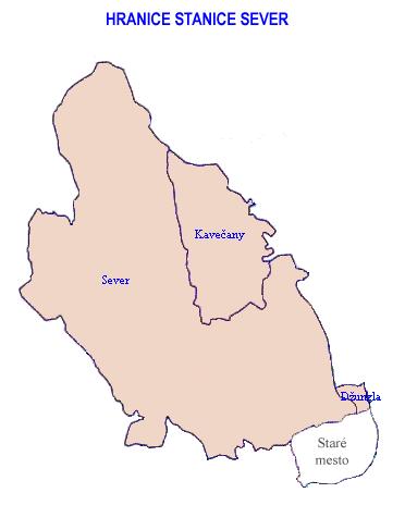 Mapa - hranice stanice Sever