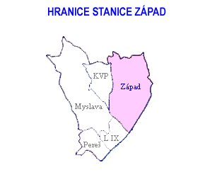 Mapa - hranice stanice Západ