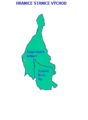 Mapa - hranice stanice Východ