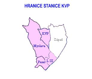 Mapa - hranice stanice KVP