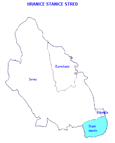 Mapa - hranice stanice Stred