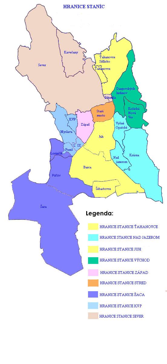 Mapa - hranice staníc MsP