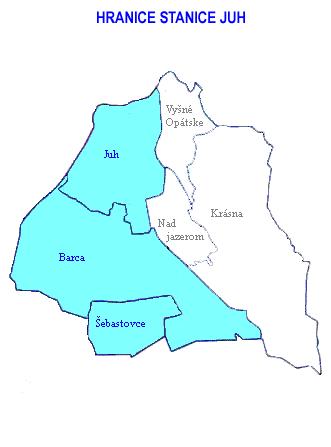 Mapa - hranice stanice Juh